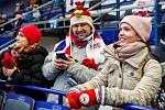 Olympijský festival u Ostravar Arény, neděle 18. února 2018 v Ostravě. Fanoušci českého hokeje fandí v zápase Česko - Švýcarsko