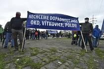 Zaměstnanci hutní společnosti Liberty Ostrava (LO) se sešli 5. května 2021 na protestním mítinku před hlavní bránou podniku.