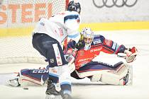 Utkání 52. kola hokejové extraligy: HC Vítkovice Ridera - HC HC Bílí Tygři Liberec, 4. března 2018 v Ostravě. Bartošák Patrik a Šmíd Ladislav.
