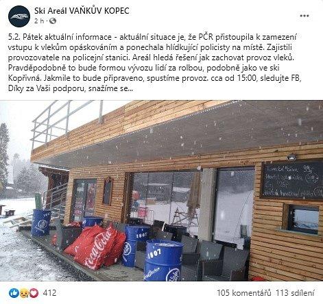Příspěvek z facebookové stránky Ski areálu Vaňkův kopec.