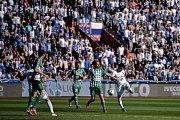 Zápas 24. kola první fotbalové ligy: FC Baník Ostrava vs. Bohemians Praha 1905, 14. dubna 2018 v Ostravě. (vpravo) Hrubý Robert.