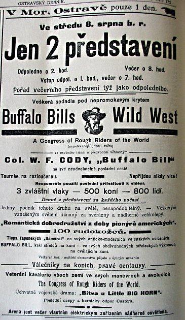 Inzerát. Již od začátku srpna 1906se vostravských novinách objevily obrovské informující opříjezdu cirkusu Buffalo Billa.