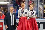 Mistrovství světa hokejistů do 20 let, zápas o 3. místo: Švédsko - Finsko, 5. ledna 2020 v Ostravě. Na snímku (vlevo) René Fasel.