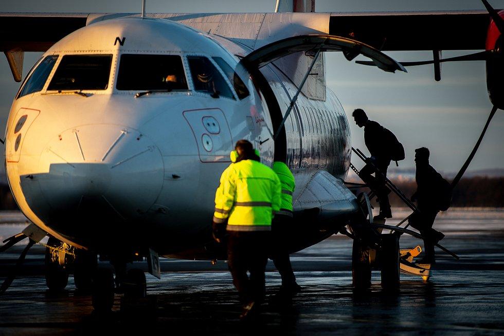 Poslední let mezi Ostravou a Prahou provozovaný leteckou společnosti ČSA, 11. ledna 2019 v Mošnově