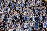 Zápas 24. kola první fotbalové ligy: FC Baník Ostrava vs. Bohemians Praha 1905, 14. dubna 2018 v Ostravě. Fanoušci Baníku.