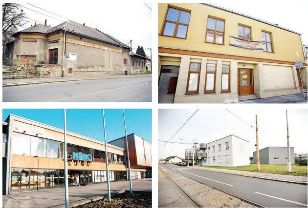 Na snímcích jsou čtyři budovy kin vrůzných částech města. Tři znich už svému účelu neslouží. Shora zleva Slezan, Mír, Luna, poslední snímek je zmísta, kde stávalo kino Edison.