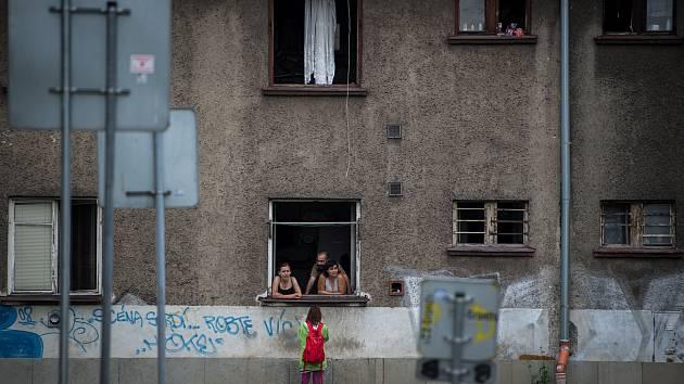 Osada Červený kříž v Mariánských horách, 23. července 2019 v Ostravě.