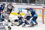 Utkání 17. kola hokejové extraligy: HC Vítkovice Ridera - Rytíři Kladno, 3. listopadu 2019 v Ostravě. Na snímku zleva Alexandre Mallet, Martin Kehar.