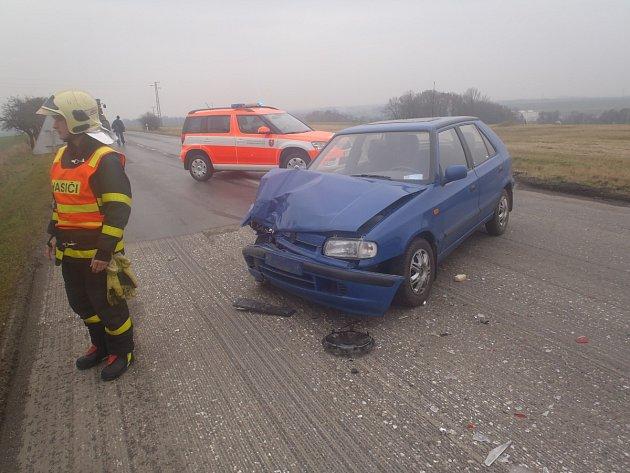 Na místo nehody, při které se zranila osmačtyřicetiletá žena, přijeli také profesionální hasiči z Bílovce, které přivolali jejich kolegové.