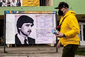 Plakát Andreje Babiše alias agenta Bureše u obchodního centra Kotva v Ostravě - Zábřehu na Výškovické ulici. 21. dubna 2021 v Ostravě.