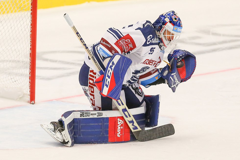 Utkání 3. kola hokejové extraligy: HC Vítkovice Ridera - Bílí Tygři Liberec, 20. září 2019 v Ostravě. Zleva brankář Vítkovic Miroslav Svoboda.