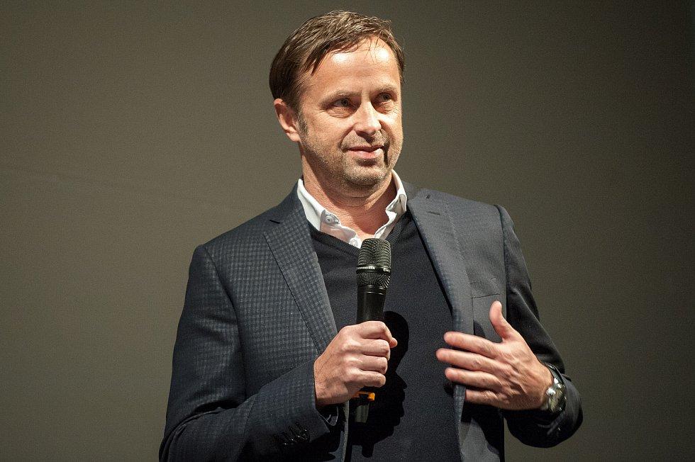 Premiéra filmu Baník!!! v Gongu v Dolní Oblasti Vítkovic, 2. března 2018 v Ostravě. Majitel Baníku Václav Brabec.