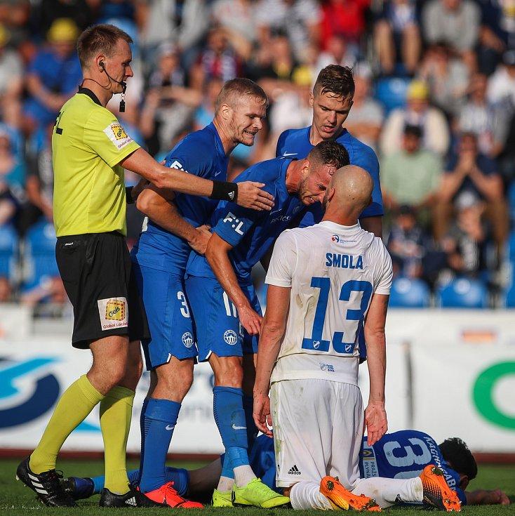 Utkání 1. kola první fotbalové ligy: FC Baník Ostrava - FC Slovan Liberec, 13. července 2019 v Ostravě. Na snímku (vpravo) Tomáš Smola.