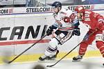 Utkání 34. kola hokejové extraligy: HC Vítkovice Ridera - HC Oceláři Třinec, 12. ledna 2019 v Ostravě. Na snímku (zleva) Rastislav Dej a Vladimír Roth.