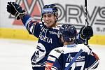Utkání 27. kola hokejové extraligy: HC Vítkovice Ridera - HC Litvínov, 13. prosince 2020 v Ostravě. (zleva) Radost Dominik Lakatoš z Vítkovic a Jan Štencel z Vítkovic.