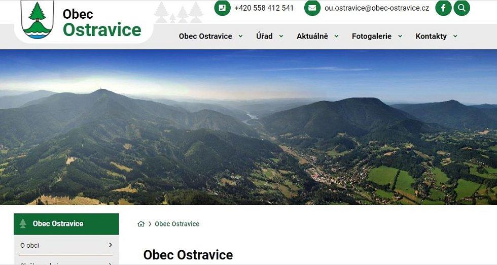 Titulní stránka webu Ostravice.