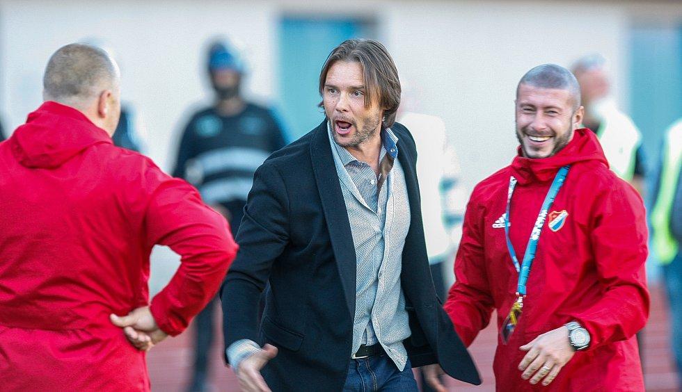 FC Baník Ostrava – SK Slavia Praha, emoce, radost, uprostřed Marek Jankulovski