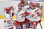 Utkání 16. kola hokejové extraligy: HC Vítkovice Ridera - HC Oceláři Třinec, 15. února 2021 v Ostravě. (střed) Martin Růžička z Třince a Patrik Hrehorčák z Třince.