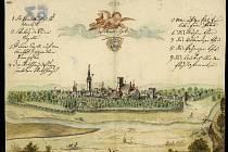Veduta města Moravské Ostravy, kostel sv. Václava ve své gotické podobě, 1728.