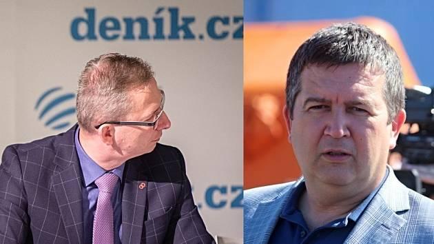 Náměstek hejtmana MS kraje Jiří Navrátil (vlevo) a ministr vnitra ČR Jan Hamáček.