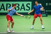 Utkání kvalifikace tenisového Davisova poháru - čtyřhra: Česká Republika - Nizozemsko, 2. února 2019 v Ostravě. Na snímku (vpravo) Lukáš Rosol a Jiří Veselý.