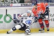Utkání 4. kola hokejové extraligy: HC Vítkovice Ridera - HC Škoda Plzeň, 23. září 2018 v Ostravě. Na snímku (vlevo) Allen Conor Jay a Lev Jakub.