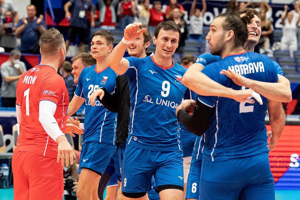 Utkání mistrovství Evropy volejbalistů - osmifinále: ČR - Francie, 13. září 2021 v Ostravě. Vojtěch Patočka z ČR.