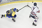 Utkání 32. kola hokejové extraligy: HC Vítkovice Ridera - PSG Berani Zlín, 4. ledna 2019 v Ostravě. Na snímku (zleva) Honejsek Antonín a Ivan Baranka.