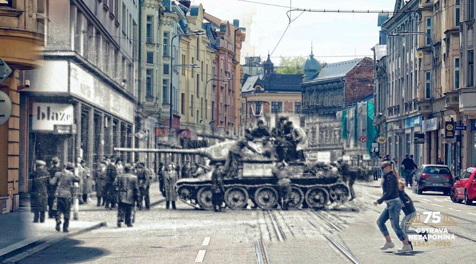 JEDEN z tanků, který dorazil do centra Ostravy, pokračoval z Nádražní ulice do ulice Mlýnské.