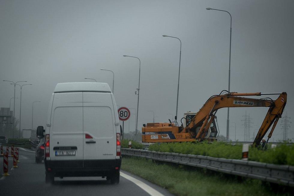 Oprava dálnice D1, duben 2019 v Ostravě.
