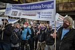 Demonstrace za obranu evropského ocelářského průmyslu v Dolní oblasti Vítkovic, 1. října 2020 v Ostravě.
