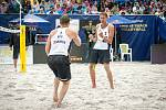 Turnaj Světového okruhu v plážovém volejbalu - semifinále, 24. června 2018 v Ostravě. Na snímku (vlevo) ILYA LESHUKOV (1) a KONSTANTIN SEMENOV (2)