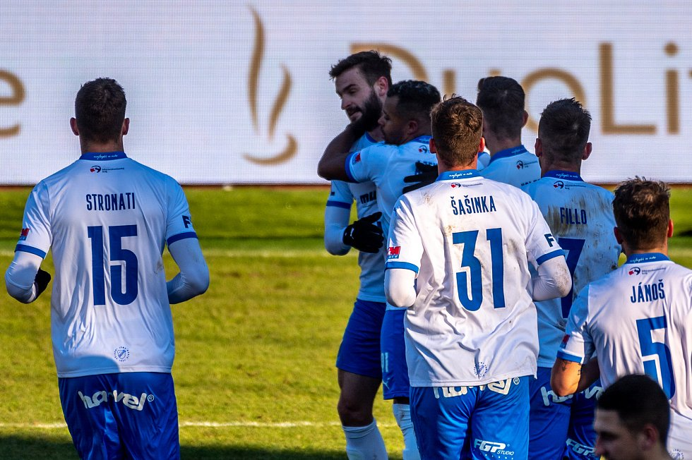 19. kolo utkání Fortuna ligy mezi FC Baník Ostrava a FK Jablonec 2:1. 14. února 2021 v Ostravě - Vítkovicích. Radost domácích.