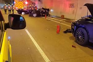 Zásah u nehody v klimkovickém tunelu.