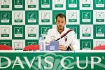 ČR - Nizozemsko, utkání kvalifikace tenisového Davisova poháru - úvodní dvouhry, Lukáš Rosol (ČR) - Robin Haase (Nizozemsko), 1. února 2019 v Ostravě. Tisková konference. Na snímku Lukáš Rosol.