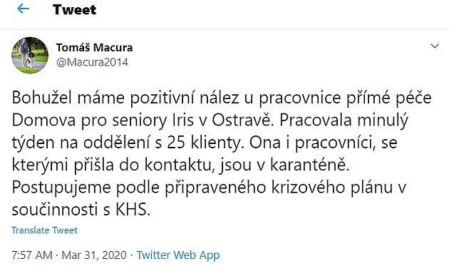 Twitter Tomáš Macura 31.března.