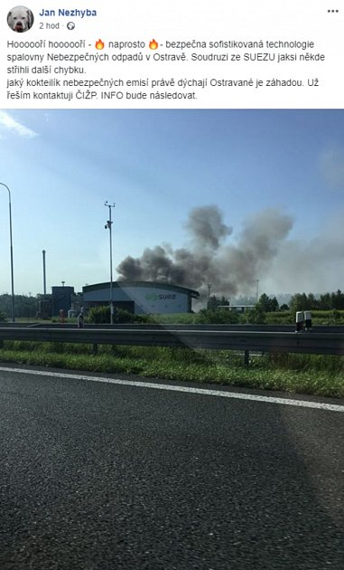 Požár provozu SUEZ vOstravě.