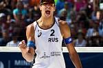 Muži: Zápas o 3. místo Polsko - Rusko. FIVB Světové série v plážovém volejbalu J&T Banka Ostrava Beach Open, 2. června 2019 v Ostravě. Na snímku Oleg Stoyanovskiy (RUS).