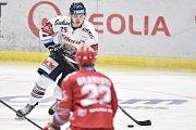 Čtvrtfinále play off hokejové extraligy - 4. zápas: HC Vítkovice Ridera - HC Oceláři Třinec, 25. března 2019 v Ostravě. Na snímku Patrik Zdráhal.