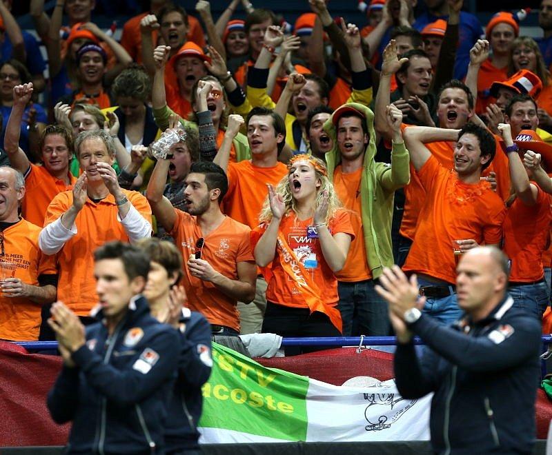 Nizozemští fandové podporují svou dvojici.
