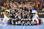Superfinále play off florbalové superligy mužů: Technology florbal Mladá Boleslav - 1. SC TEMPISH Vítkovice, 14. dubna 2019 v Ostravě. Na snímku team Boleslavi.