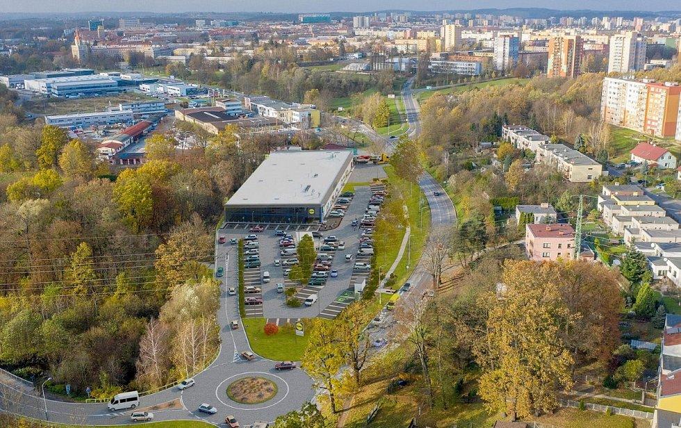 Vizualizace nové prodejny Lidl v Ostravě-Porubě.