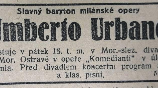 Upoutávka v Moravsko-slezském deníku na vystoupení Umberta Urbana.