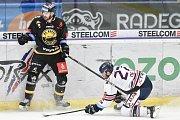 26. kolo hokejové extraligy: HC Vítkovice Ridera - HC Litvínov, 9. prosince 2018 v Ostravě. Na snímku (zleva) Porseland Mathias a Rastislav Dej.