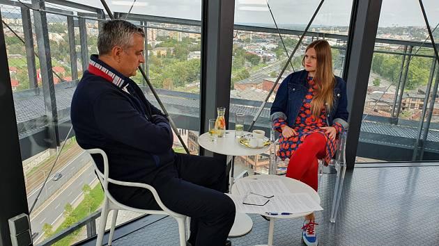 Vladivojna La Chia na snímku s Petrem Bohušem v Ostravě.