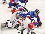 Mistrovství světa v para hokeji 2019, Korea - Česká republika (zápas o 3. místo), 4. května 2019 v Ostravě. Na snímku (zleva) Geier Michal (CZE), Palat David (CZE), Lee Jong Kyung (KOR).