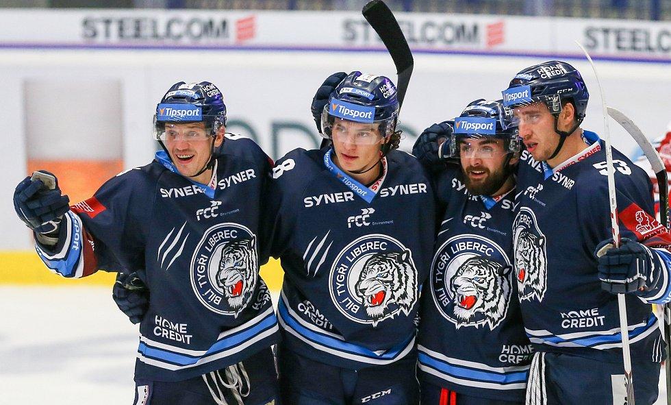 Utkání 3. kola hokejové extraligy: HC Vítkovice Ridera - Bílí Tygři Liberec, 20. září 2019 v Ostravě. Radost Liberce.