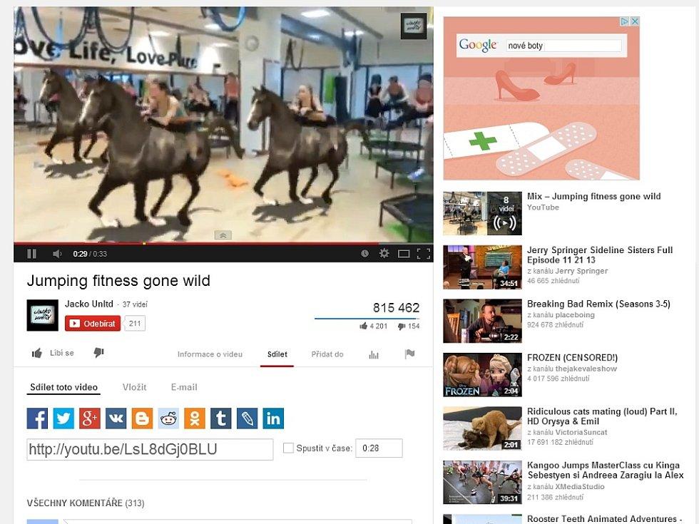 Video s nahrávkou jumpingu na kanále YouTube.