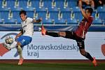 Utkání 2. kola první fotbalové ligy: FC Baník Ostrava - SK Dynamo České Budějovice, 28. srpna 2020 v Ostravě. Zleva Jakub Pokorný z Ostravy a Lukáš Matějka z Českých Budějovic.