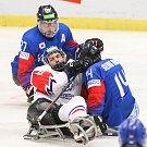 Mistrovství světa v para hokeji 2019, Korea - Česká republika (zápas o 3. místo), 4. května 2019 v Ostravě. Na snímku (zleva) Cho Byeong Seok (KOR), Dolezal Pavel (CZE), Jung Seung Hwan (KOR).